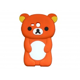 Coque silicone pour Samsung Galaxy S3 Mini/ I8190 ourson orange + film protection écran offert