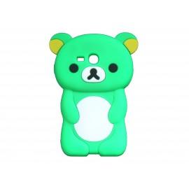 Coque silicone pour Samsung Galaxy S3 Mini/ I8190 ourson vert + film protection écran offert
