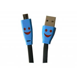 Cable plat micro USB smile noir chargement synchronisation