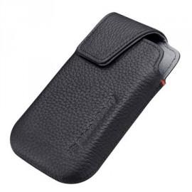 Etui ceinture en cuir noir Blackberry Bold 9900 + film protection écran