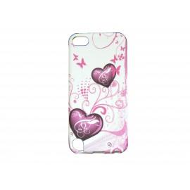 Coque silicone pour Ipod Touch 5 blanche cœur rose + film protection écran