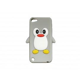 Coque silicone pour Ipod Touch 5 pingouin gris + film protection écran