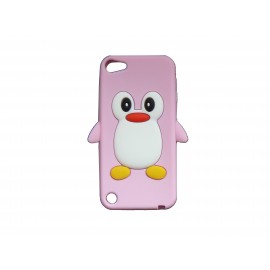 Coque silicone pour Ipod Touch 5 pingouin rose clair + film protection écran