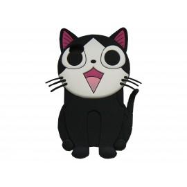 Coque silicone pour Ipod Touch 4 chat noir + film protection écran