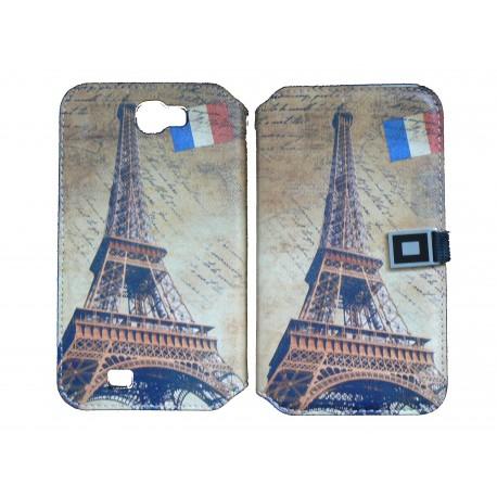 Pochette pour Samsung Galaxy Note 2 / N7100 simili-cuir Tour Eiffel France + film protectin écran
