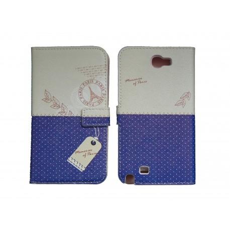 Pochette pour Samsung Galaxy Note 2 / N7100 simili-cuir bleu pois blancs + film protectin écran