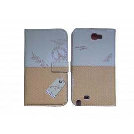 Pochette pour Samsung Galaxy Note 2 / N7100 simili-cuir orangé pois blancs + film protectin écran