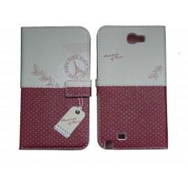 Pochette pour Samsung Galaxy Note 2 / N7100 simili-cuir bordeau pois blancs + film protectin écran