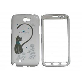 Coque semi-intégrale pour Samsung Galaxy Note 2/N7100 chat cœur bleu + film protection écran offert