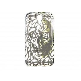 Coque pour Samsung Galaxy S4 / I9500 tête de mort noire verte + film protection écran offert