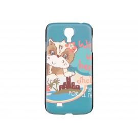 Coque pour Samsung Galaxy S4 / I9500 bleue petit chien + film protection écran offert
