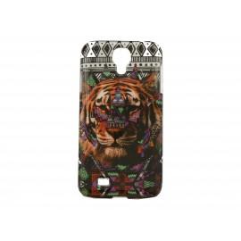 Coque  pour Samsung Galaxy S4 / I9500 tigre multicolore + film protection écran offert