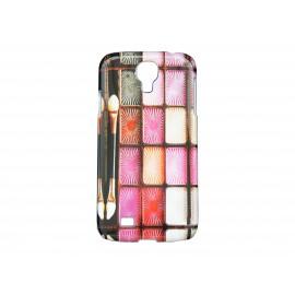 Coque pour Samsung Galaxy S4 / I9500 palette maquillage rose + film protection écran offert