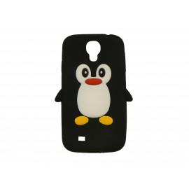 Coque silicone pour Samsung Galaxy S4 / I9500 pingouin noir + film protection écran offert