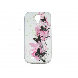 Coque silicone pour Samsung Galaxy S4 / I9500 blanche papillons roses et noirs + film protection écran offert