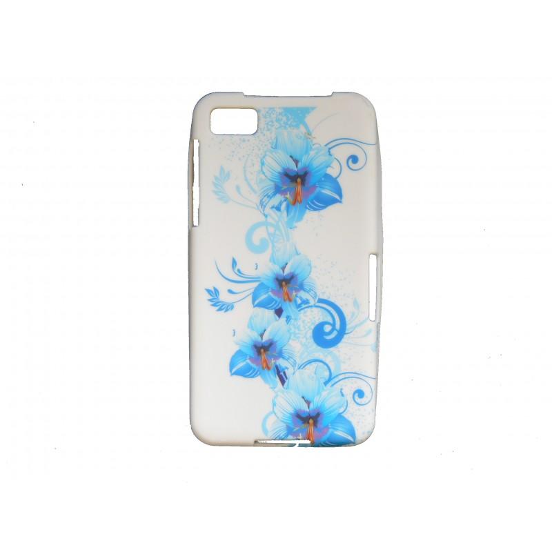 Coque silicone pour blakberry z10 fleurs bleues for Photo ecran blackberry z10