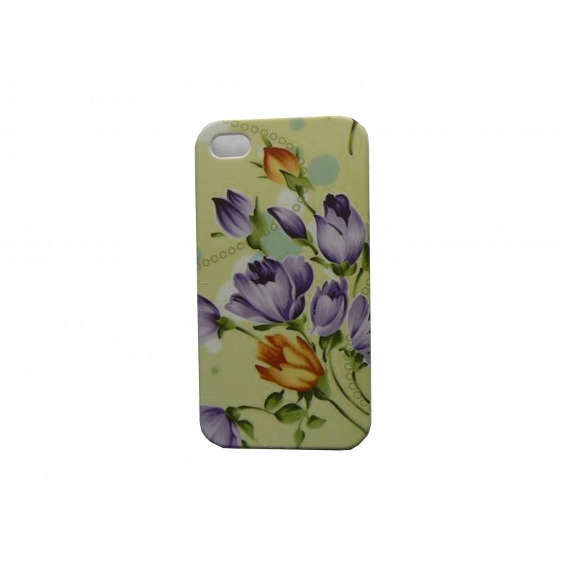 coque pour iphone 4 mate verte fleurs mauves. Black Bedroom Furniture Sets. Home Design Ideas