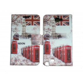 Pochette pour Samsung Galaxy Note 2 / N7100 simili-cuir Big Ben Bus/ UK Angleterre + film protectin écran