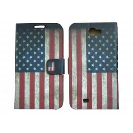 Pochette pour Samsung Galaxy Note 2 / N7100 simili-cuir drapeau vintage Etats-Unis / USA + film protectin écran
