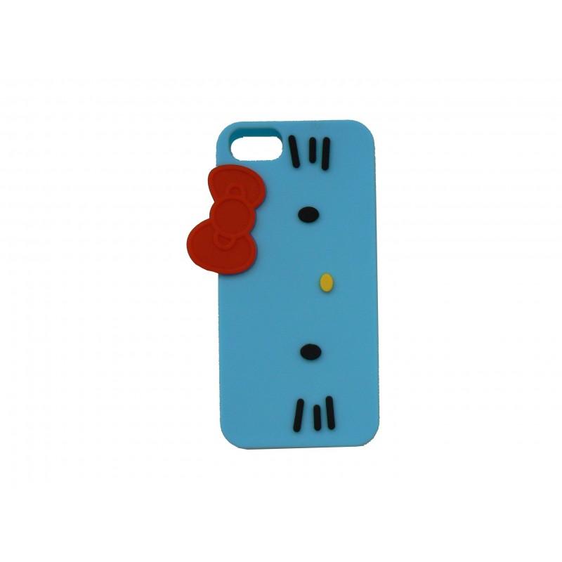 coque silicone pour iphone 5 chat bleu n ud de papillon rouge. Black Bedroom Furniture Sets. Home Design Ideas