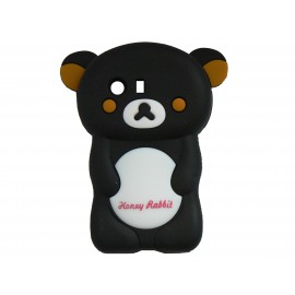 Coque silicone pour Samsung Galaxy Y/S5360 ourson noir + film protection écran offert