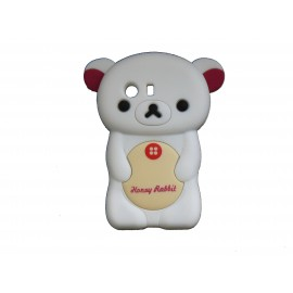 Coque silicone pour Samsung Galaxy Y/S5360 ourson blanc + film protection écran offert
