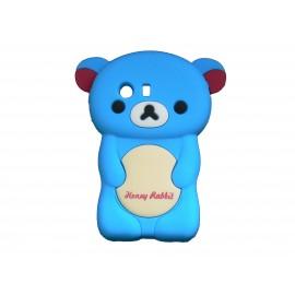 Coque silicone pour Samsung Galaxy Y/S5360 ourson bleu + film protection écran offert
