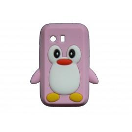 Coque silicone pour Samsung Galaxy Y/S5360 pingouin rose + film protection écran offert