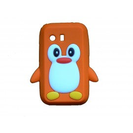 Coque silicone pour Samsung Galaxy Y/S5360 pingouin orange + film protection écran offert