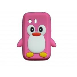 Coque silicone pour Samsung Galaxy Y/S5360 pingouin rose bonbon + film protection écran offert