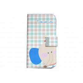 Pochette pour Samsung I9500 Galaxy S4 simili-cuir à carreaux éléphant + film protectin écran