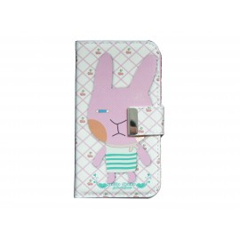 Pochette pour Samsung I9500 Galaxy S4 simili-cuir lapin rose + film protectin écran