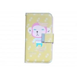 Pochette pour Samsung I9500 Galaxy S4 simili-cuir jaune singe + film protectin écran