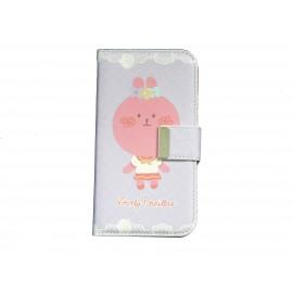 Pochette pour Samsung I9500 Galaxy S4 simili-cuir mauve personnage rose + film protectin écran