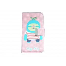Pochette pour Samsung I9500 Galaxy S4 simili-cuir rose à pois blancs personnage bleu + film protectin écran