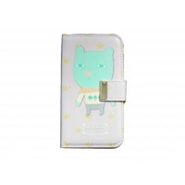 Pochette pour Samsung I9500 Galaxy S4 simili-cuir petit loup vert + film protectin écran