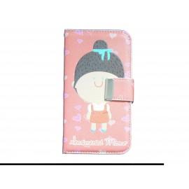 Pochette pour Samsung I9500 Galaxy S4 simili-cuir petite fille robe rouge + film protectin écran
