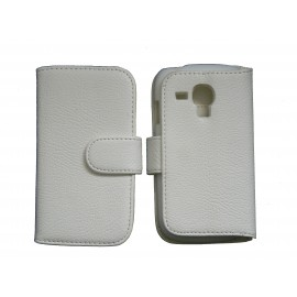 Etui portefeuille pour Samsung I8190/Galaxy S3 mini simili-cuir blanc + film protectin écran