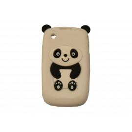 Coque silicone pour Blackberry 8520 curve panda blanc oreilles noires + film protection ecran offert
