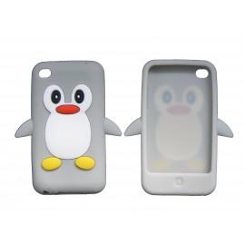 Coque silicone pour Ipod Touch 4 pingouin gris + film protection écran