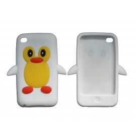 Coque silicone pour Ipod Touch 4 pingouin blanc + film protection écran