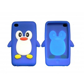 Coque silicone pour Ipod Touch 4 pingouin bleu + film protection écran
