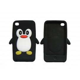Coque silicone pour Ipod Touch 4 pingouin noir + film protection écran