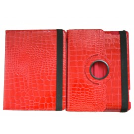 Pochette Ipad 2/3 nouvel Ipad simili-cuir rouge crocodile + film protection écran