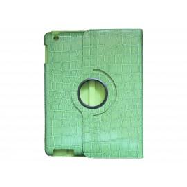 Pochette Ipad 2/3 nouvel Ipad simili-cuir vert crocodile + film protection écran