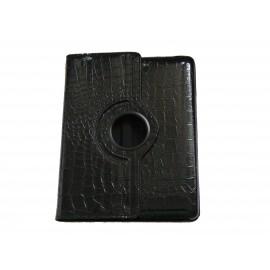 Pochette Ipad 2/3 nouvel Ipad simili-cuir noir crocodile + film protection écran