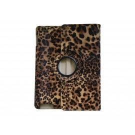Pochette Ipad 2/3 nouvel Ipad simili-cuir léopard jaune + film protection écran