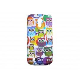 Coque pour Samsung Galaxy S4 Mini / I9190 hibou multicolore + film protection écran offert
