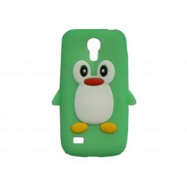 Coque silicone pour Samsung Galaxy S4 Mini / I9190 pingouin vert + film protection écran offert