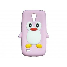 Coque silicone pour Samsung Galaxy S4 Mini / I9190 pingouin rose clair + film protection écran offert